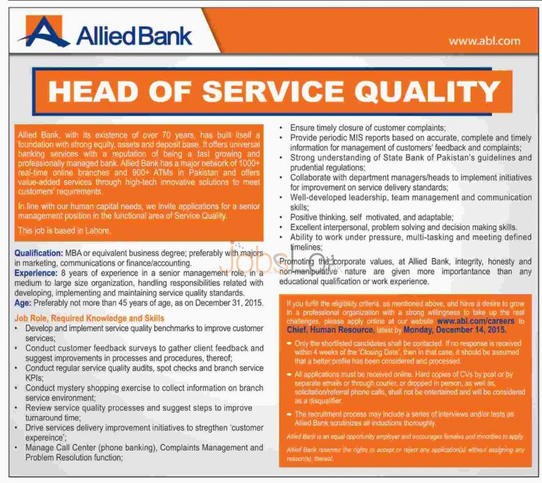 ABL Jobs Online Apply 2015 for Head of Service Quality in Allied Bank Limited