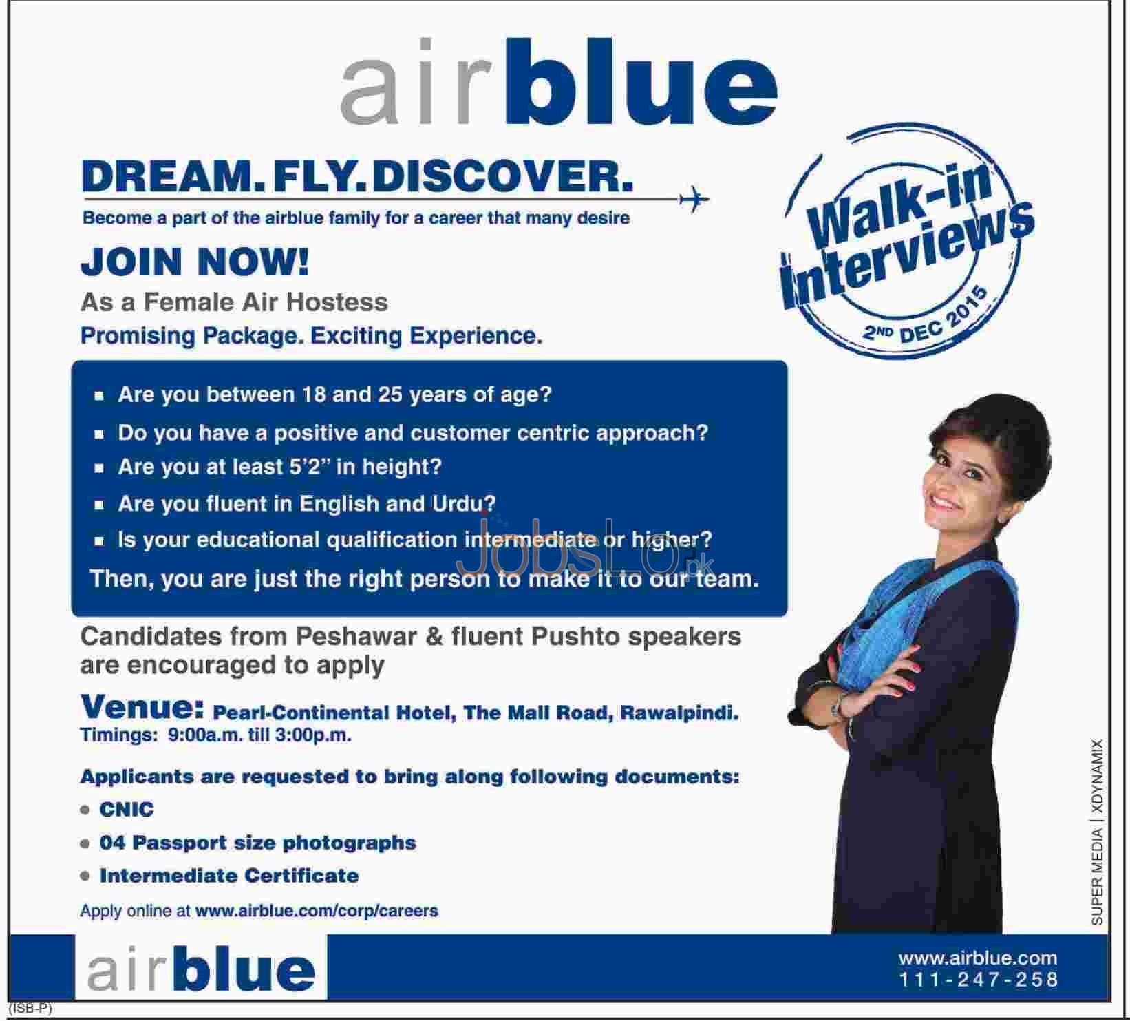 Airblue Jobs For Airhostess 2015 December Advertisement
