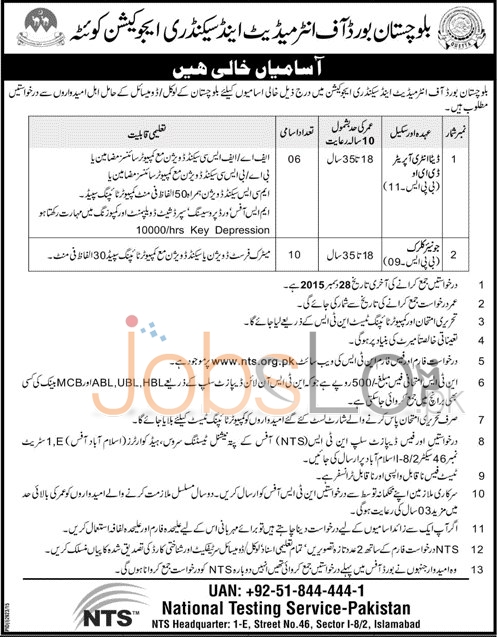 NTS BISE Quetta Jobs 2015 Application Form for Data Entry Operator & Junior Clerk