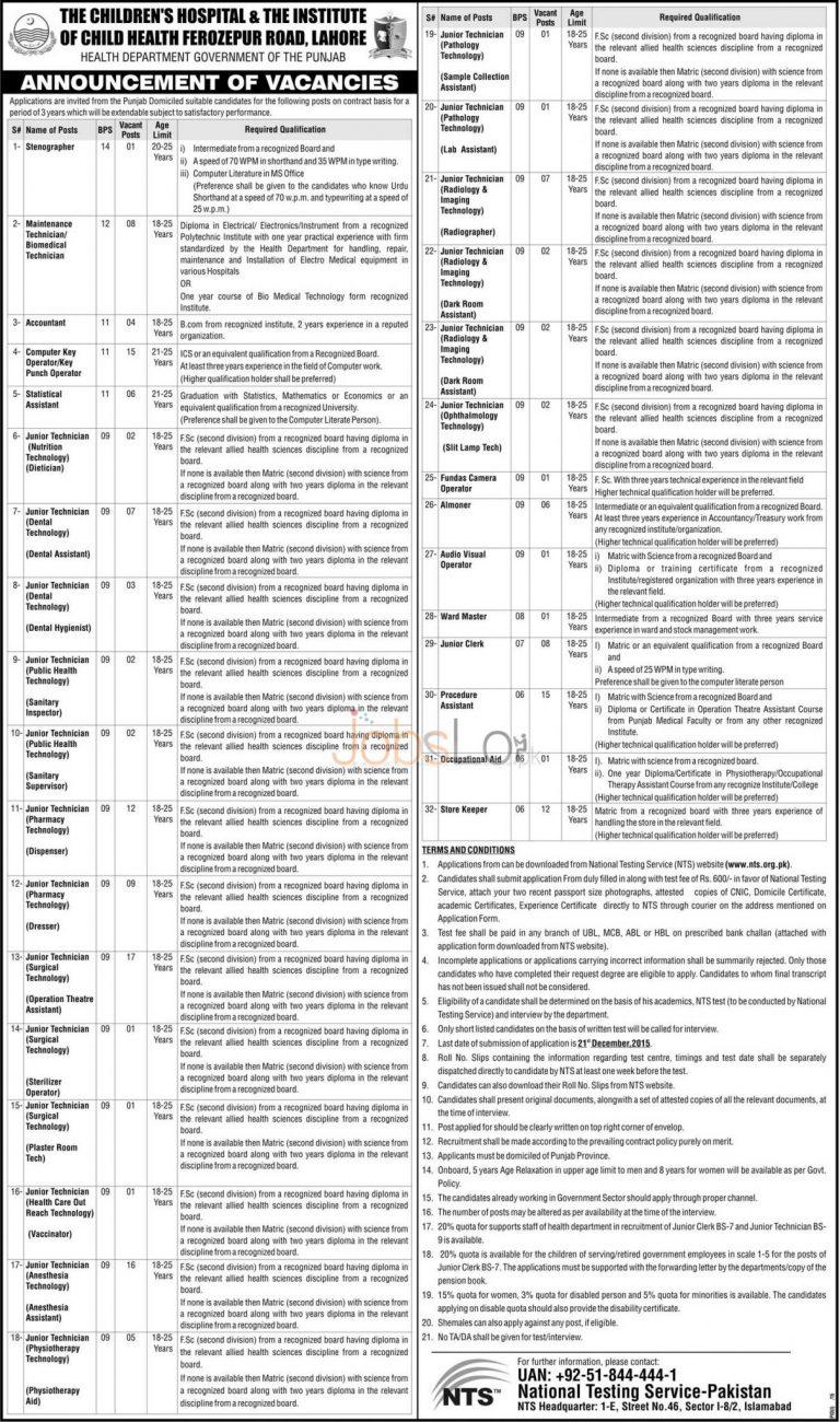 NTS Children Hospital Lahore Jobs December 2015 Application Form Last Date