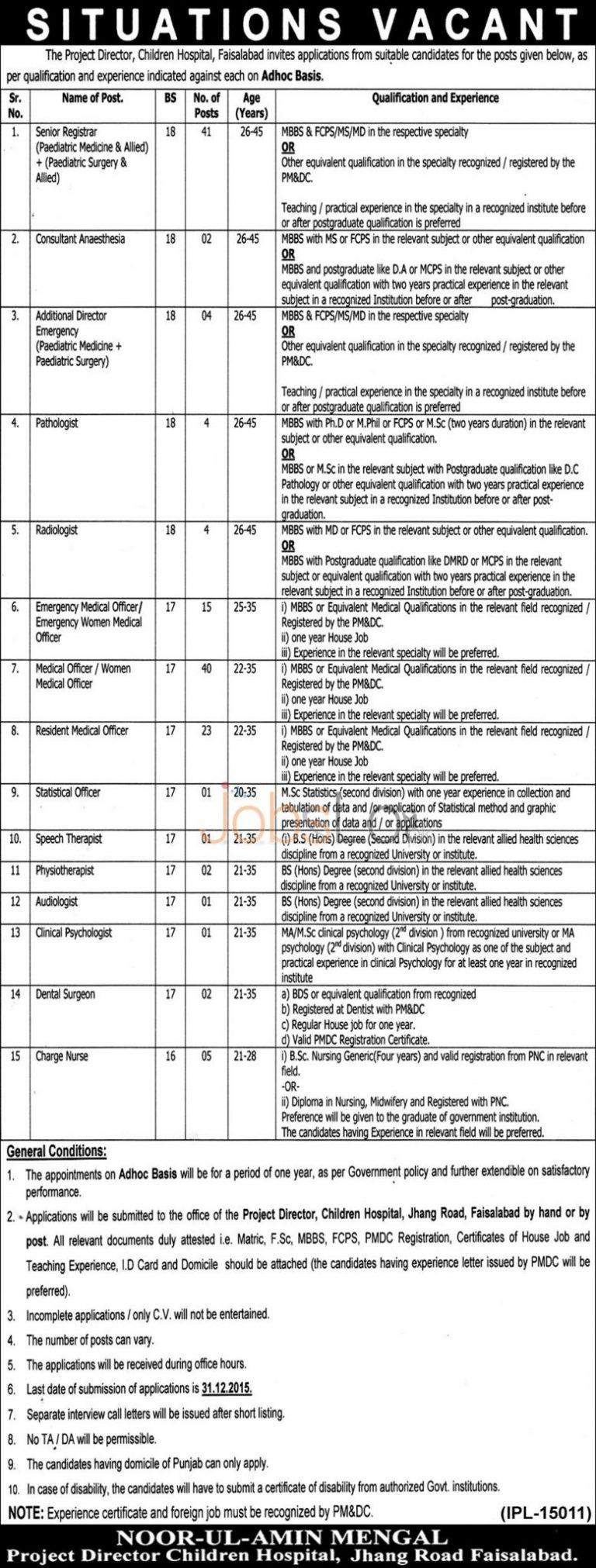 Government of Punjab Children's Hospital Faisalabad Jobs December 2015