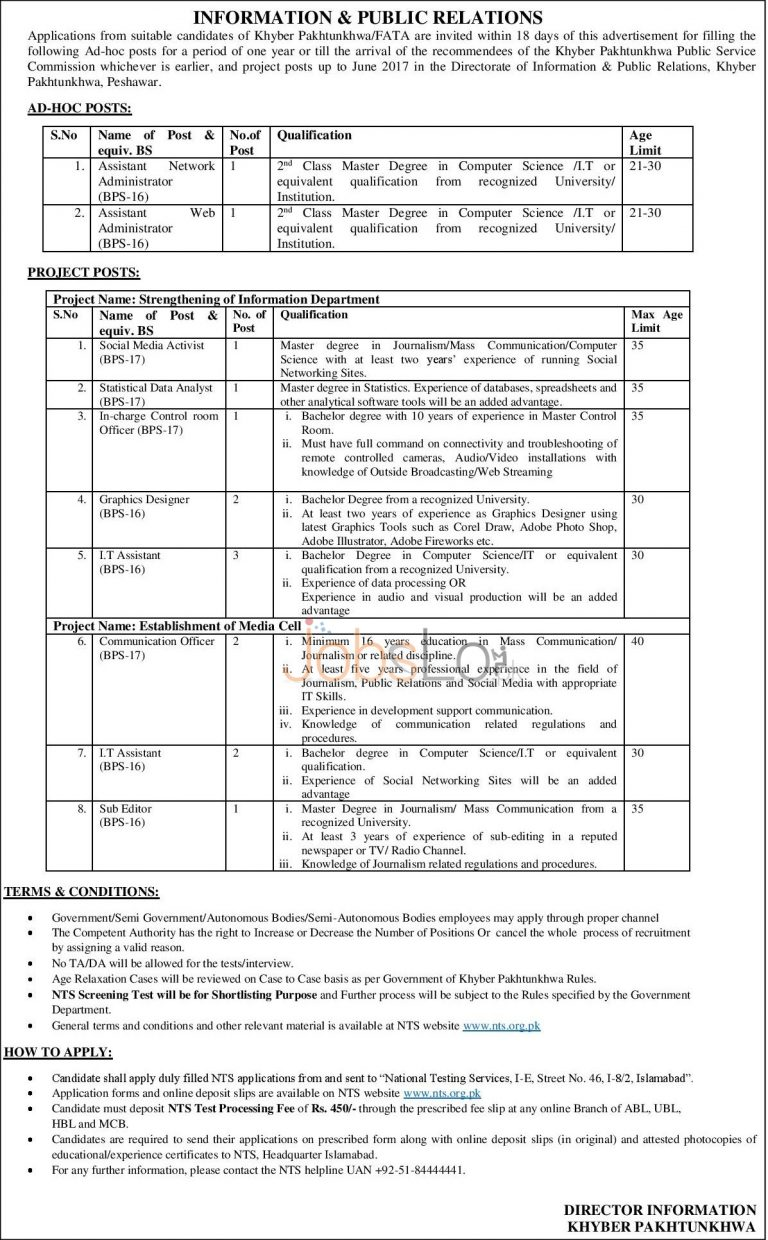 NTS Directorate of Information & Public Relations KPK Jobs 2015 Application Form