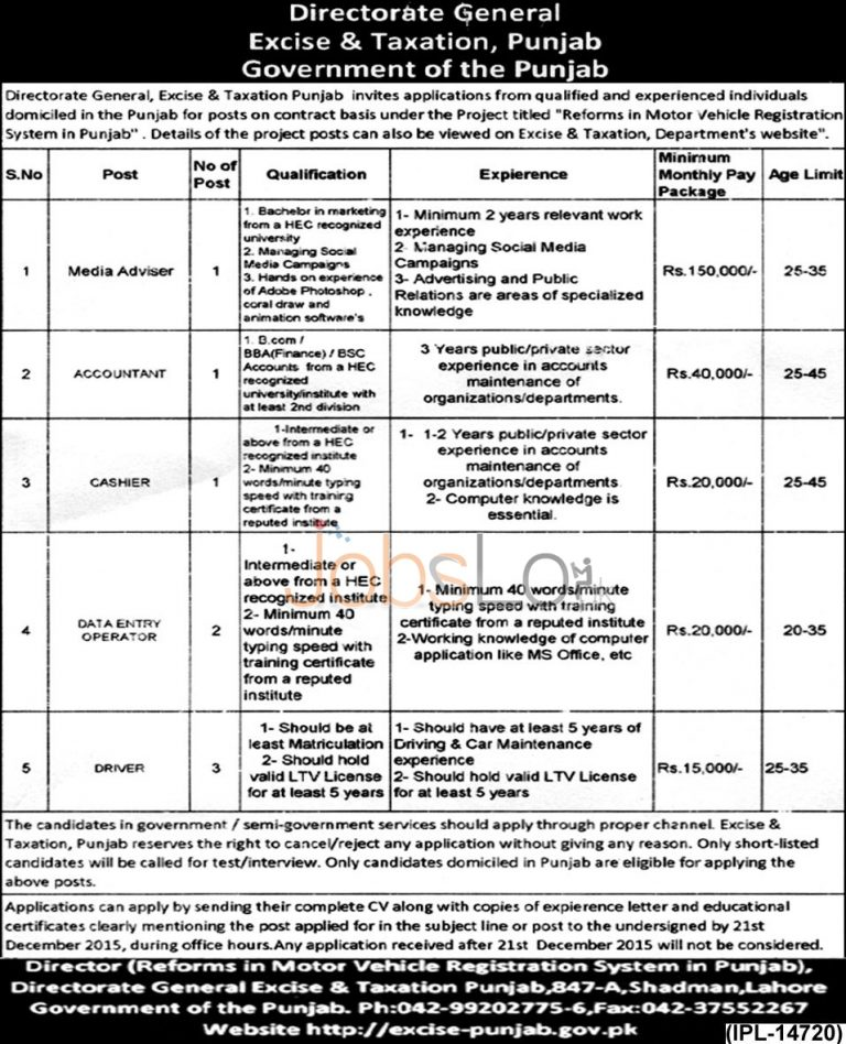 Excise & Taxation Punjab Lahore Jobs 2015 Data Entry Operator, Cashier & Accountant
