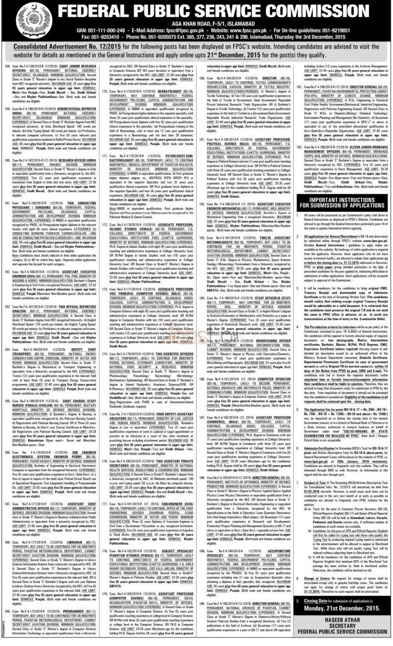 www.fpsc.gov.pk Jobs December 2015 Apply Online Latest Advertisement