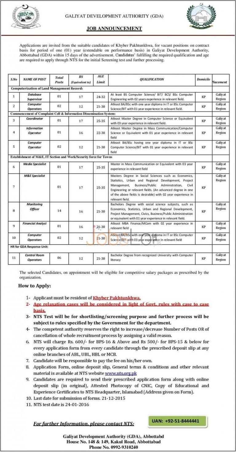 NTS Galiyat Development Authority Jobs 2015 Application Form & Last Date