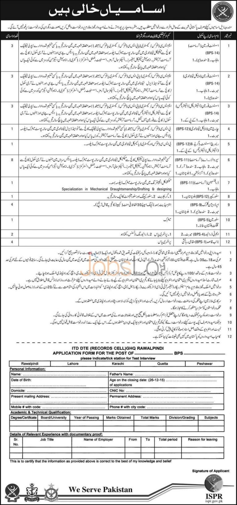 GHQ Rawalpindi Jobs December 2015 in IT DTE (Record Cell) Application Form