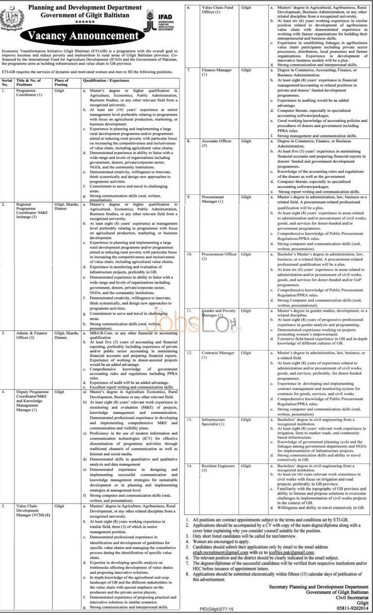 Planning & Development Department GB Jobs December 2015 Career Opportunities