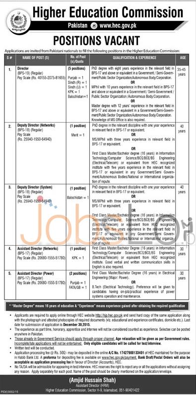 www.hec.gov.pk Jobs 2015-2016 Apply Online Punjab Sindh KPK Balochistan
