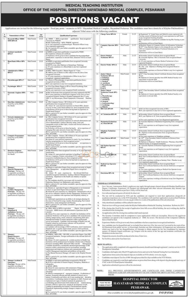 NTS Jobs in Hayatabad Medical Complex Peshawar December 2015