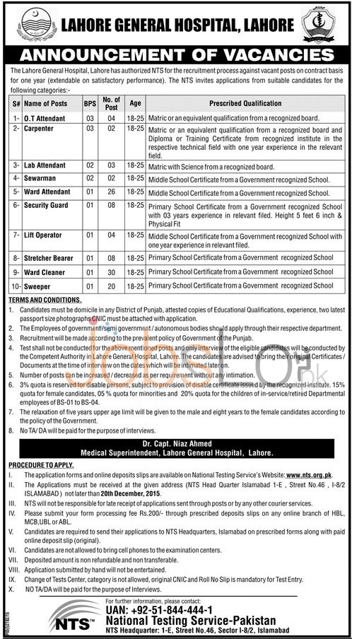 Lahore General Hospital Jobs 2015 NTS Application Form for BPS-01 to BPS-05