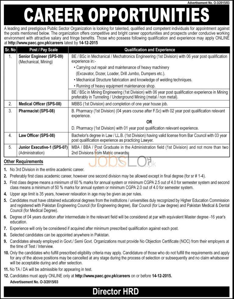 PAEC Pakistan Atomic Energy Online Apply 2015 December Advertisement