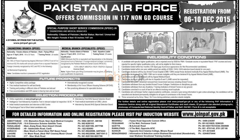 PAF 117 Non GD Course December 2015 Latest Advertisement