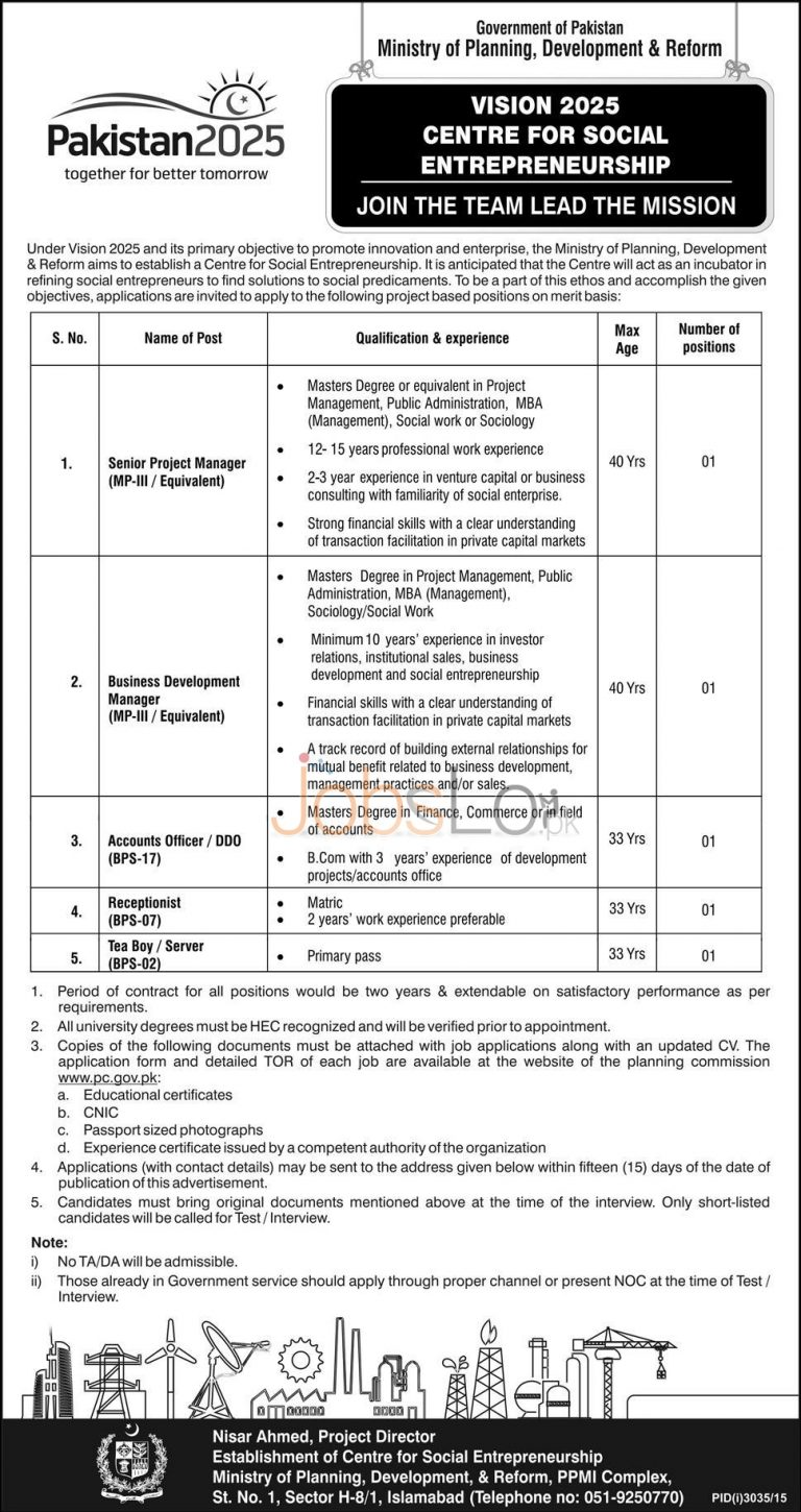 Ministry of Planning Development and Reforms Jobs 2015-16 Application Form