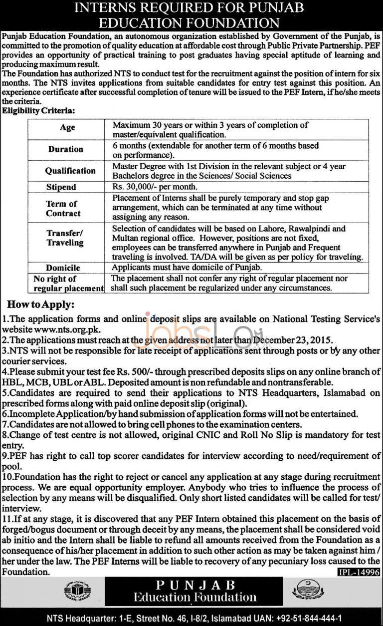 Punjab Education Foundation Internship 2015 NTS Application Form