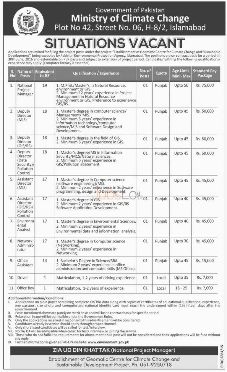 Ministry of Climate Change Jobs December 2015 Employment Opportunities