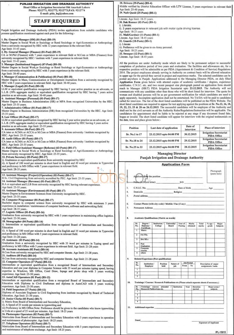 Punjab Irrigation and Drainage Authority PIDA Jobs 2015 Application Form
