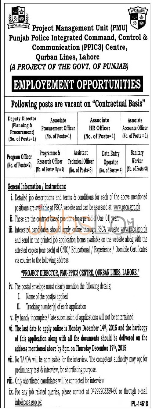 Govt Jobs in Punjab Police Integrated Command Control & Communication Centre 2015