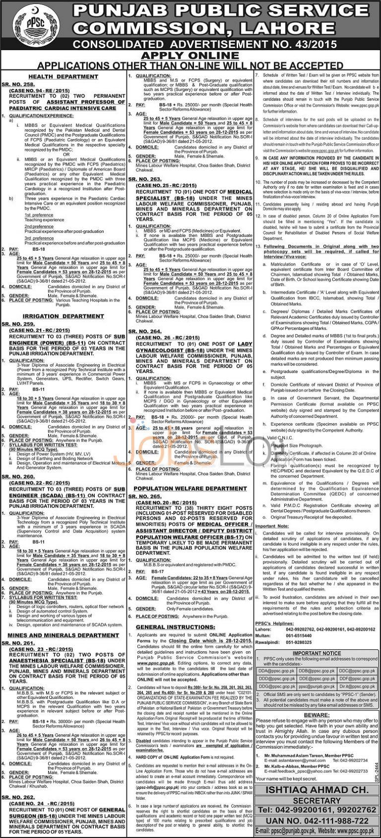 PPSC Jobs Advertisement No. 43/2015 December Apply Online