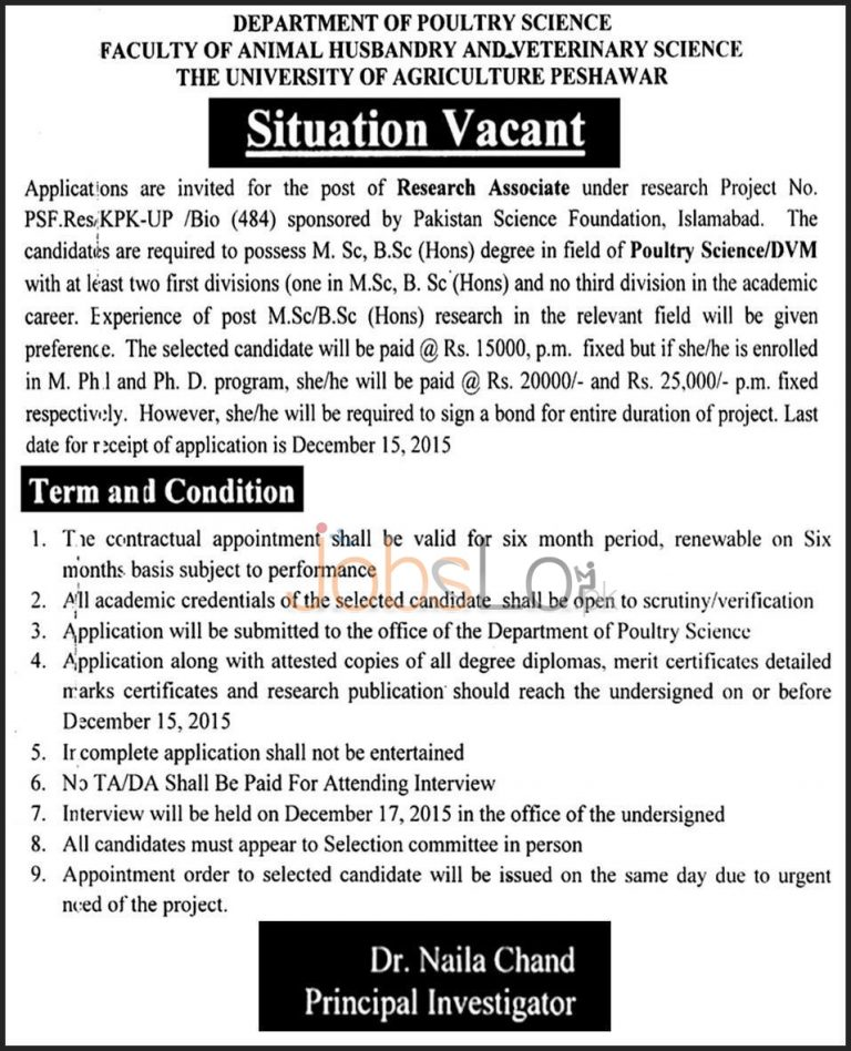 Agriculture University Peshawar Jobs 2015 for Research Associate