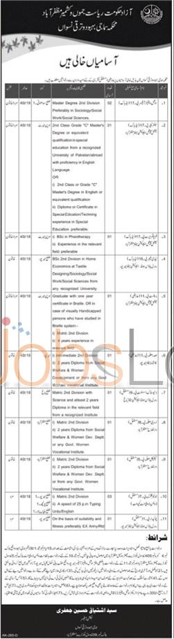 Social Welfare Department Jobs in Azad Jammu &Kashmir 22 January 2016