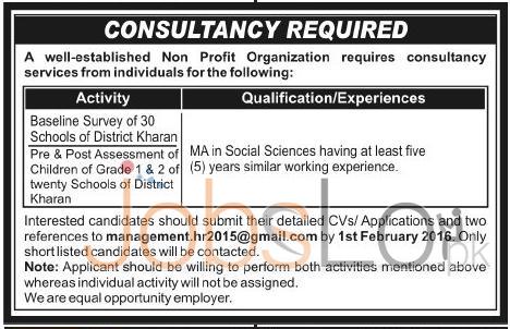Non- Profit Organization Career Opportunities Kharan 2016 Consultancy