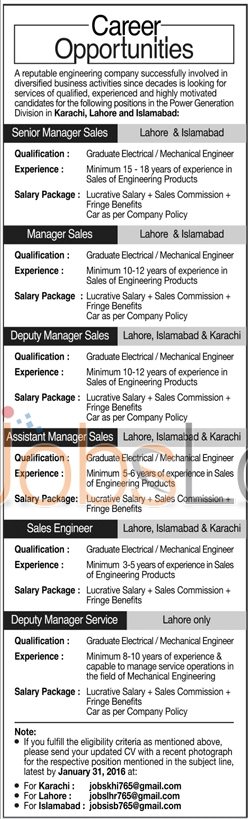 Engineering Company Jobs for Assistant Manager Sales and Sales Engineer 17th January 2016