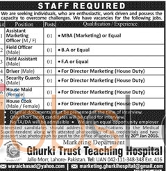 Recruitment Offers in Ghurki Teaching Hospital Lahore 2016