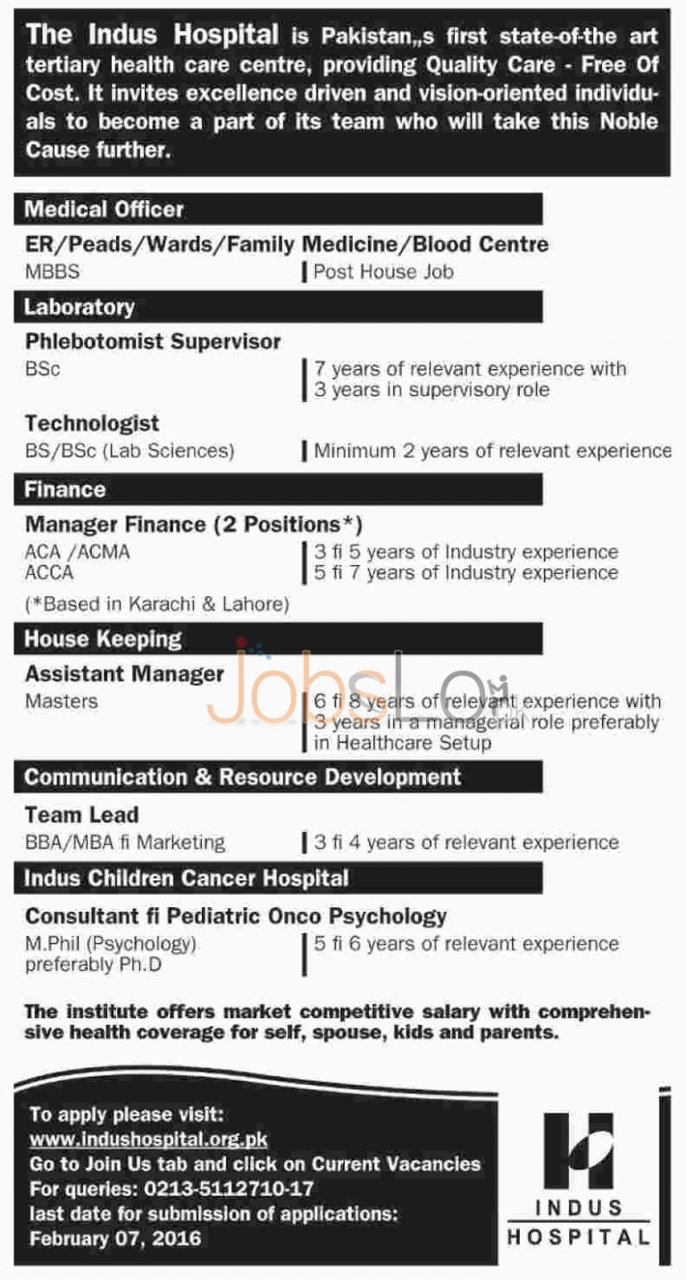 The Indus Hospital Jobs in Lahore 2016 for Medical Officer Apply Online