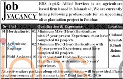 RSS Agriculture & Allied Services 16TH January 2016 in Islamabd Jobs