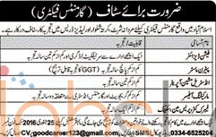 Job in Garments Factory Islamabd 2016 for Fashion Designer