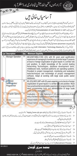 Information Technology Jobs in Azad Jammu &Kashmir 22 Jan 2016