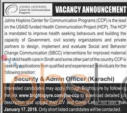 Johns Hopkins Center For Communication Program Karachi 2016 Recruitment Offers