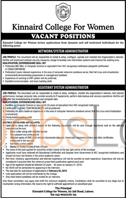 Kinnard College for Women Lahore 2016 Jobs