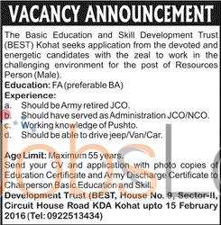 The Basic Education & Skill Department Trust Vacancies in Kohat 29th Jan 2016