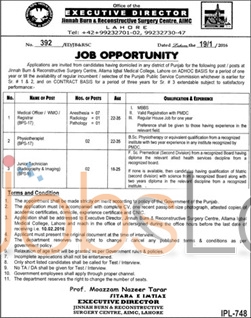 Jinnah Burn and Reconstructive Surgery Center Jobs in Lahore 22 January 2016