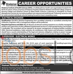 Shalamar Institute of Health Sciences Lahore Jobs 2016