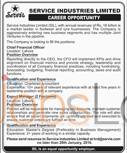 Service Industries Limited 2016 Jobs in Lahore for Chief Fiancial Officer