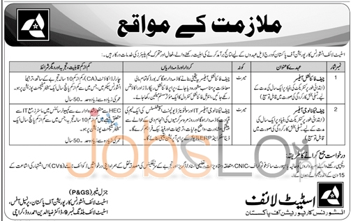 State Life Insurance Corporation of Pakistan Jobs 17th January 2016