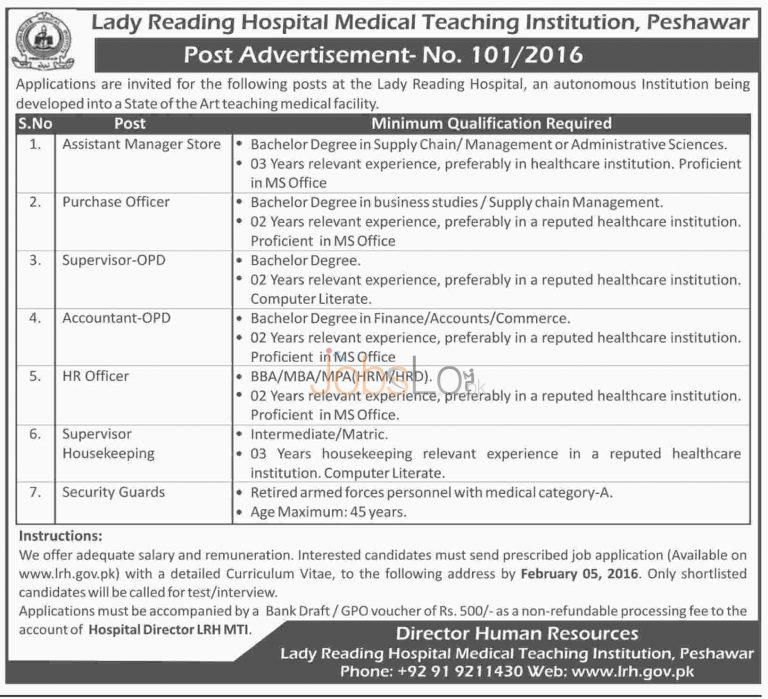 Lady Reading Hospital Medical Teaching Institution Jobs in Peshawar 2016