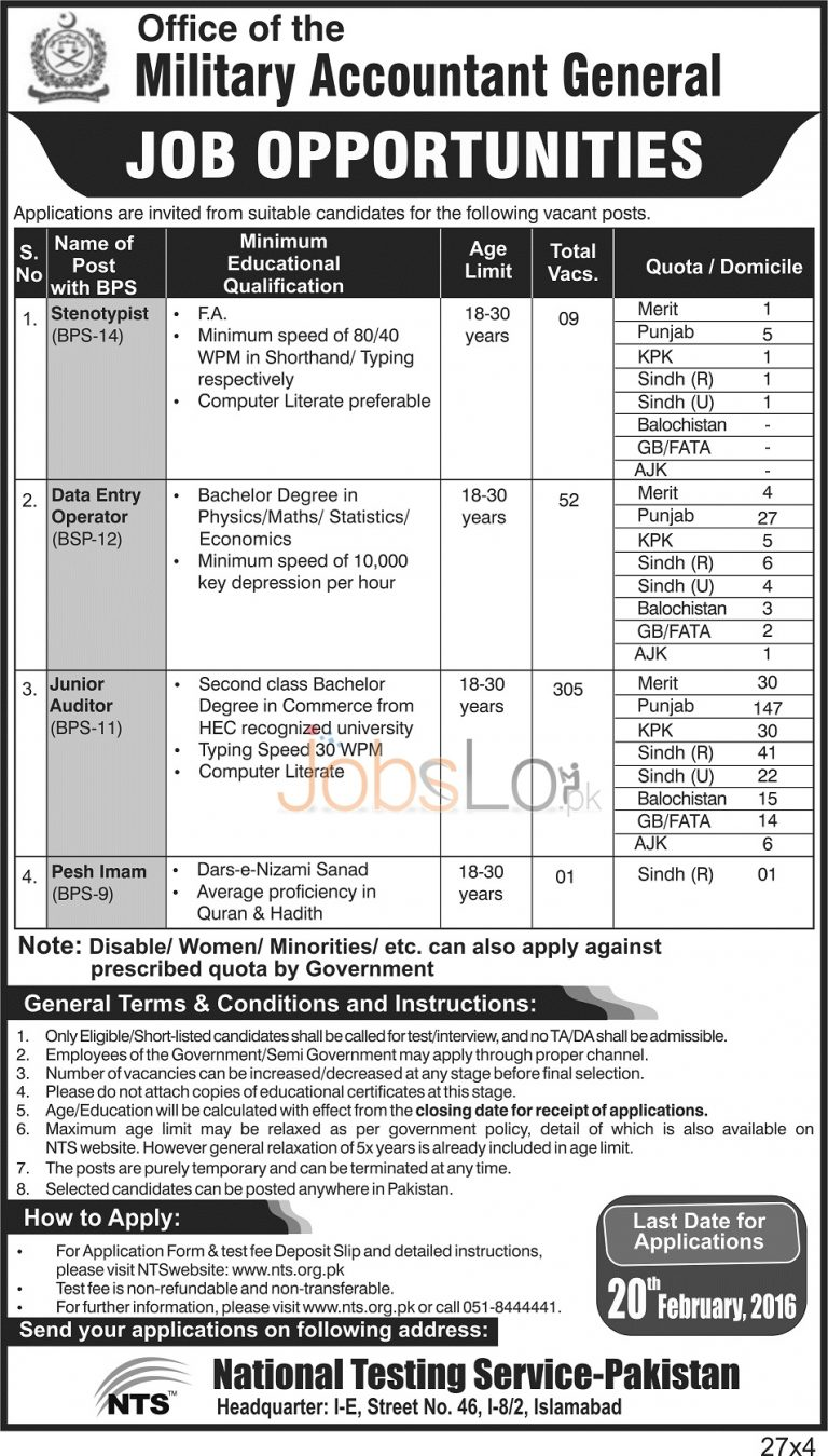 Military Accountant General Jobs 30 Jan 2016 NTS Form for Junior Auditor & Data Entry Operator