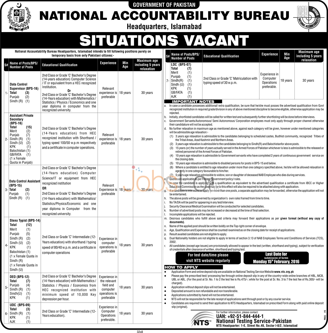 Recruitment Offers in NTS NAB 30 January 2016 Sindh, Balochistan, KPK & Punjab