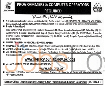 Employment Offers in Literacy & Non Formal Basic Education Department 31st Jan 2016