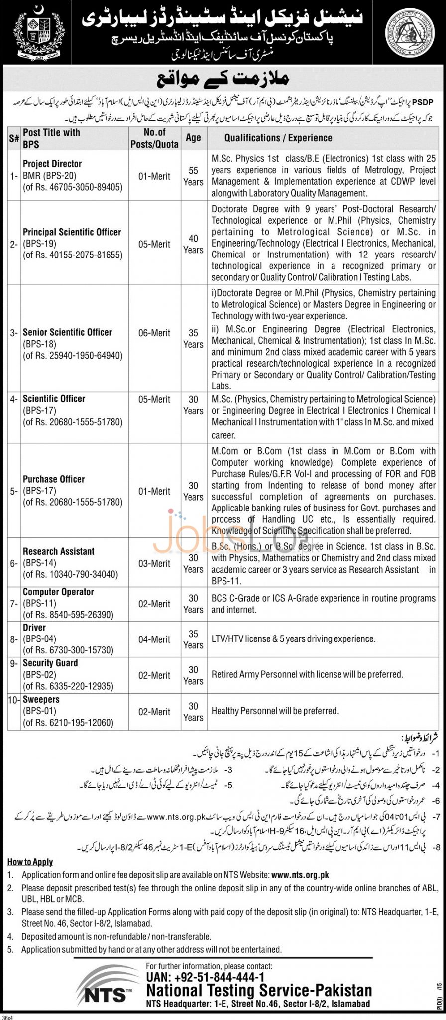 National Physical & Standards Laboratory Job Offers 30 Jan 2016 in Islamabad