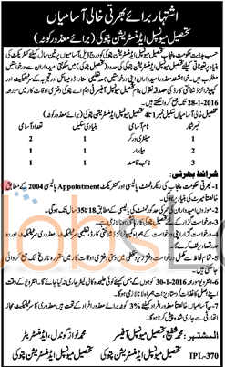 Recruitment Offers in Tehsil Municipal Authority Pattoki