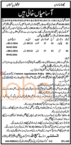 Recruitment Offer in District Okara Punjab Population Welfare Department