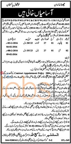 Recruitment Offer in District Okara Punjab Population Welfare Department