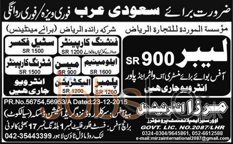 Job Vacancies in Saudi Arabia for Labour and Maintenanace Staff 2016