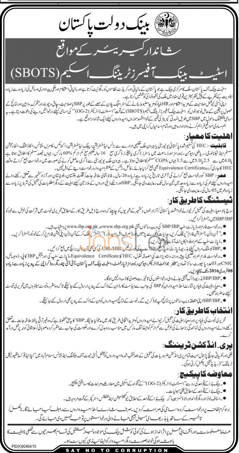 State Bank of Pakistan Jobs for Assistant Director 2016 Latest Advertisement