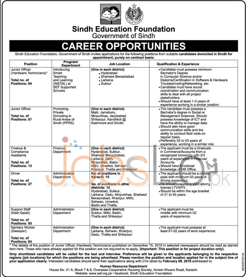 Sindh Education Foundation 2016 Jobs Latest Advertisement