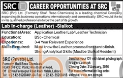 SRC Pvt Limited Lahore 2016 Jobs for Lab Incharge